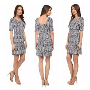 Tart Falcon Printed Knit Dress Navy White XS